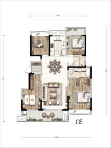 135㎡四室两厅两卫户型