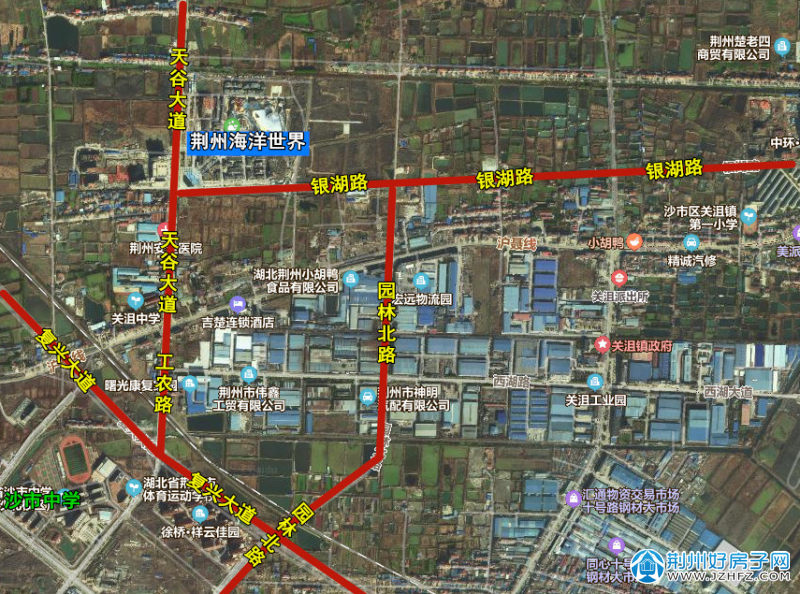 荆州关沮新城区楼盘分布