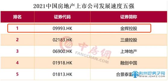 中国房地产上市公司发展速度五强