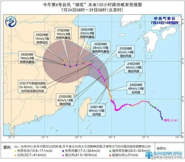 台风烟花路径图