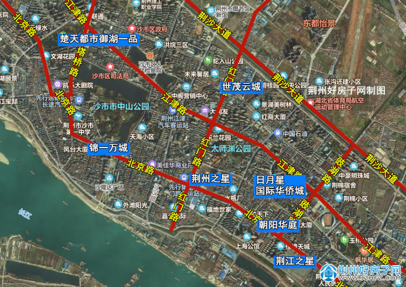 荆州中心城区楼盘分布