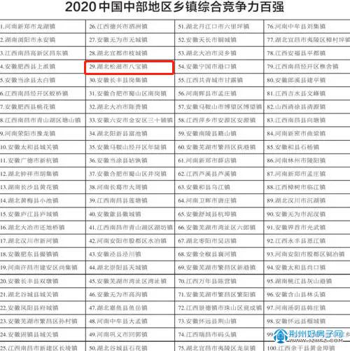 荆州松滋八宝镇 上榜中国中部百强镇!