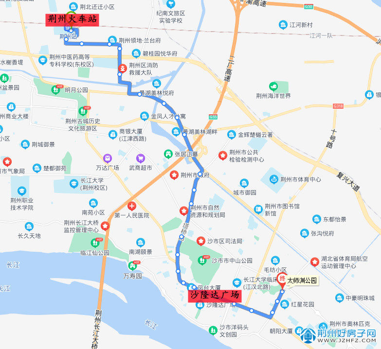 荆州火车站→沙隆达广场(49路)