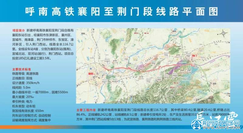 襄阳至荆门线路平面图