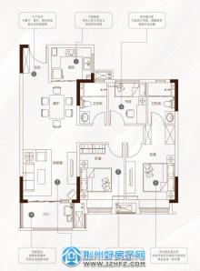 105㎡三室两厅两卫B1户型