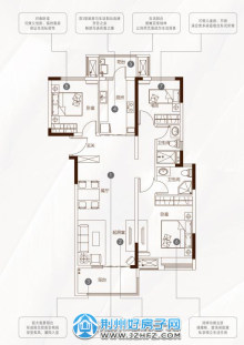 120㎡三室两厅两卫D1户型
