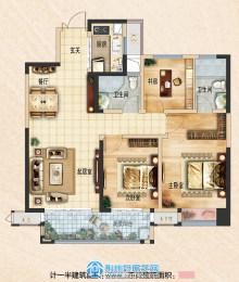 荆州吾悦广场115㎡三室两厅两卫B1户型