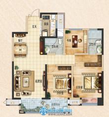荆州吾悦广场115㎡三室两厅两卫B2户型