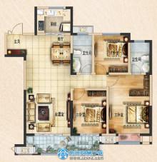 荆州吾悦广场128㎡三室两厅两卫C2户型