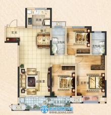 荆州吾悦广场128㎡三室两厅两卫C3户型