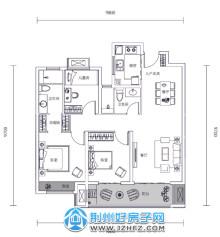 107㎡三室两厅两卫户型